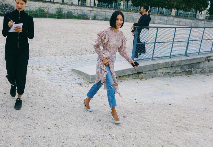 Tiffany Hsu in a Preen by Thornton Bregazzi dress, AG jeans, and Stella McCartney shoes