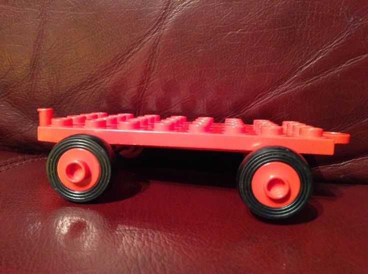 VINTAGE DUPLO RED FLATBED CART TRUCK Trailer Hitch Lego 4x8 Rolling Wagon Train #LEGO
