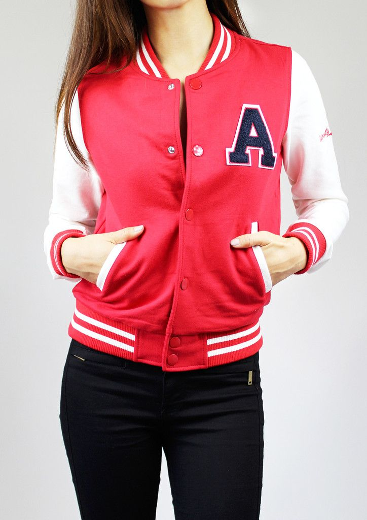 This bright sporty-girly varsity jacket features long sleeves, striped ribbed trim, a snap-button closure, and front slanted welt pockets.  You can look preppy, cute, cool, casual, and chic- all at the same time, pairing with a simple skater dress or a tulle midi skirt.