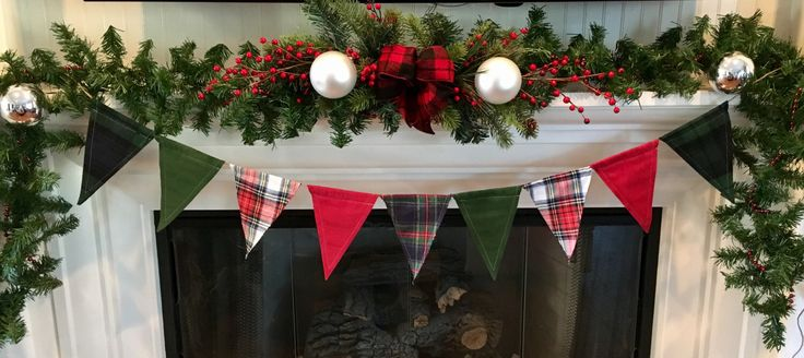 Excited to restock the Christmas banner to our #etsy shop: Christmas Plaid Flannel Fabric Flag Banner/Holiday Decor/Christmas Decor/Woodland/Cabin Decor/Christmas Garland/Plaid Flannel Banner/Lodge