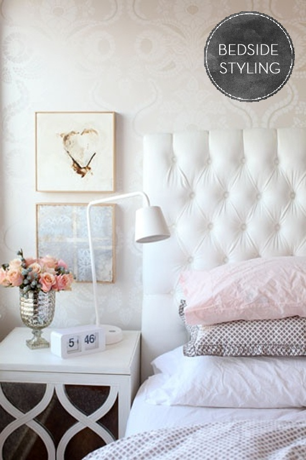 tasteful styling.   love pattern, white and pink.   Bedside table styling. Via Fairly Light