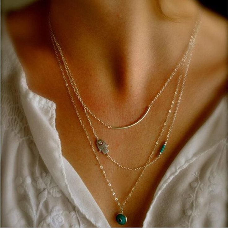 Hot Fashion Long Pendant Necklaces Gold Plated Fatima Hand &Evil Eye 3 Layer Chain Necklace multilayer Necklaces