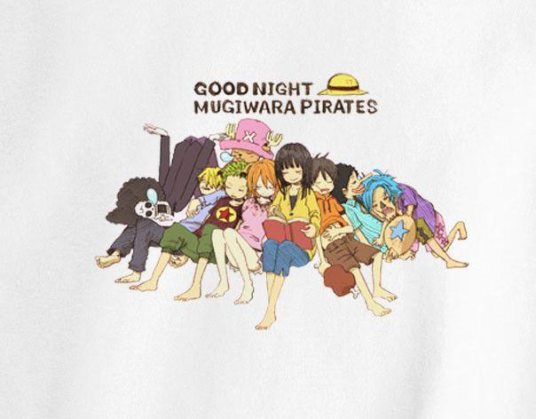 One Piece Good Night Mugiwara Pirates Luffy Zoro Usopp Sanji Brook Chopper anime manga T-Shirt