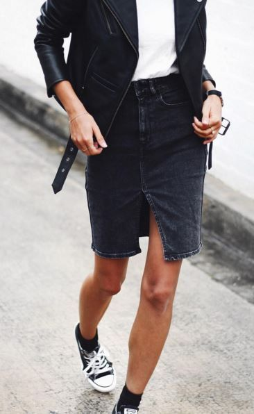 Unique denim pencil skirt, with plain white tee, black leather jacket and black all star sneakres. Classic and minimal look to imitate at home.