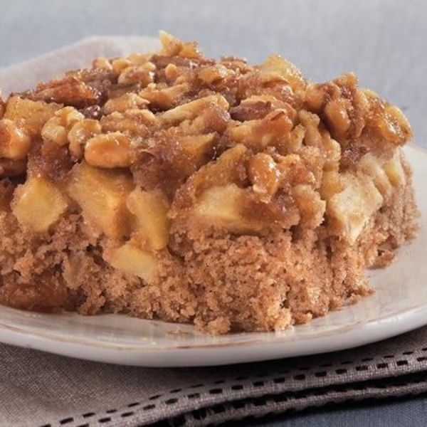 All you need to make this simple spice cake recipe is seven ingredients and about an hour! The brown sugar-apple topping cooks on the bottom of the pan, so it gets extra delicious and gooey. Start with a box of Betty Crocker spice cake mix, and it couldn't be easier!