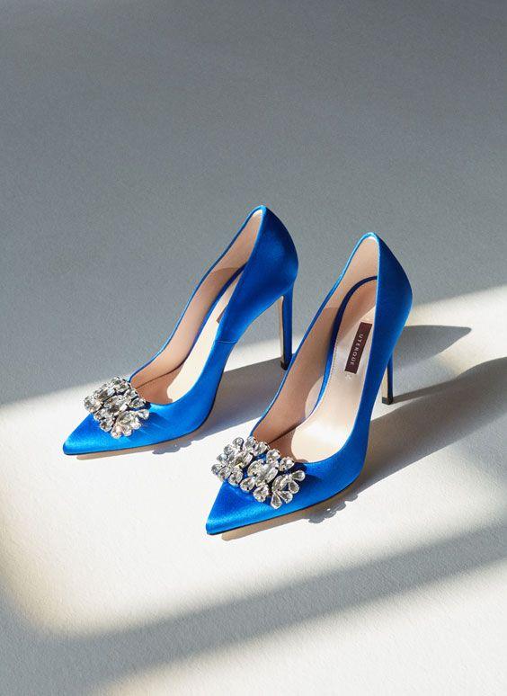Uterqüe España Product Page - Calzado - Zapatos tacón - Salón raso azul - 99