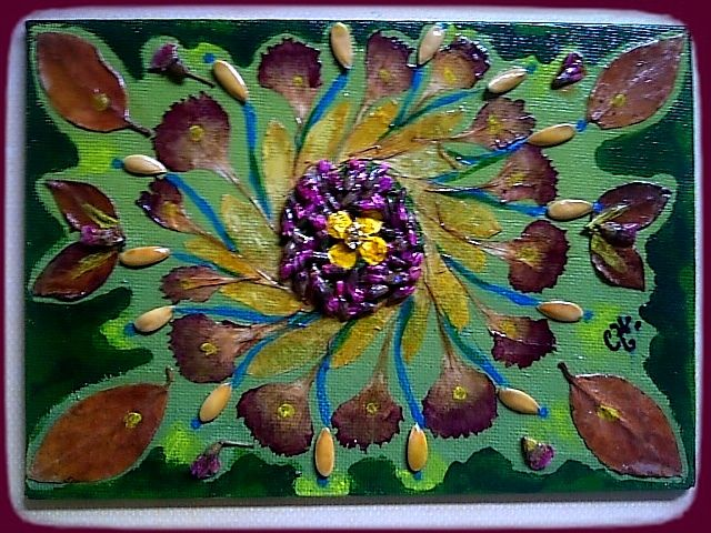"""""""Green"""" Mandala - Original acrylics, mixed media on flat canvas board. - Size: 5"""" x 7"""" - Finished with UV varnish to protect against sunlight, dust damage and moisture-resistant. - Ready to hang"""