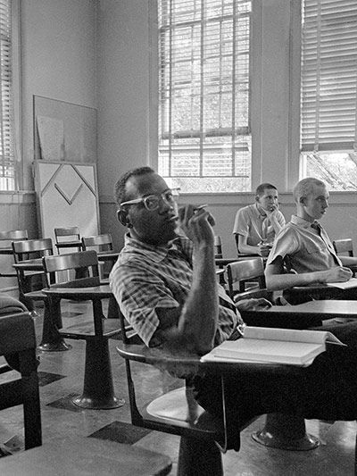 James Meredith enrolled   Amid rioting and protests, James Meredith was the first black student to attend the previously all-white University of Mississippi. He had to be escorted on to the campus by US marshals in what became a pivotal moment for the American civil rights movement