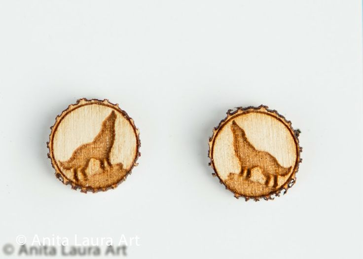 Wolf Earrings . Pins . Buttons . Magnets - Hand drawn laser cut wood - Anita Laura Art