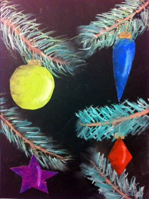 Christmas Tree Branches & Ornaments  from artisan des arts: oil pastels