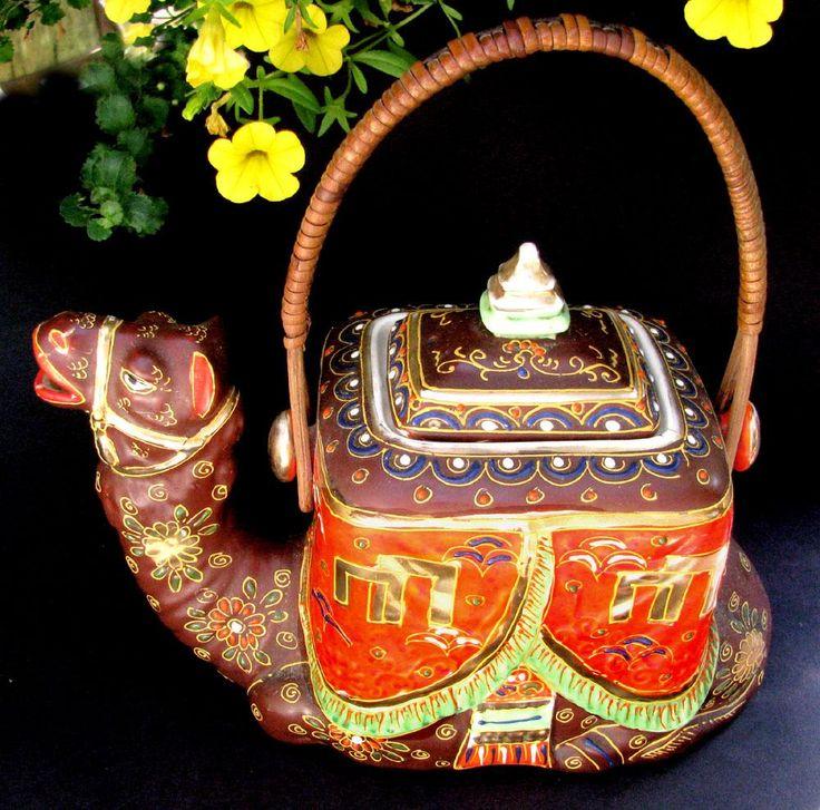 Satsuma Moriage Camel Teapot with Intact Wicker Handle c1925