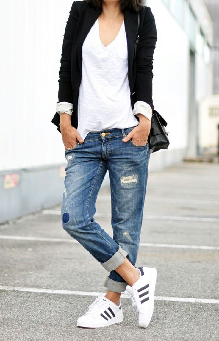Boyfriend jeans sneakers white t-shirt and black blazer. #streetstyle | 2015Style ...