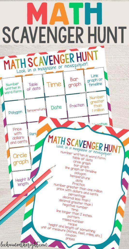 Free Math Scavenger Hunt Printables Scavenger Hunt Math