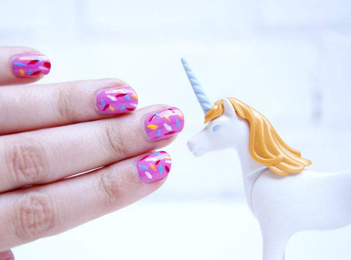 diy sprinkle nail art. Unicorns love it!