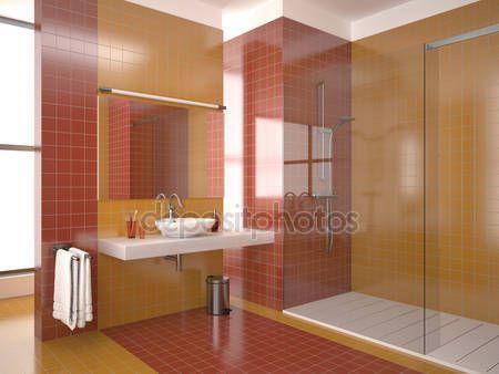 Baixar - Moderna casa de banho vermelha — Imagem de Stock #5487878