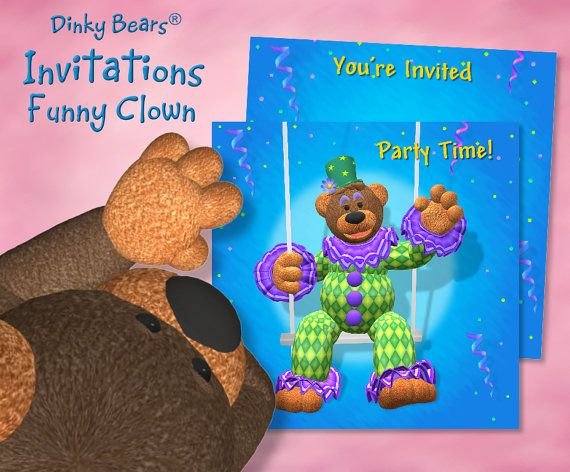 Dinky Bears - Clown on Trapez Invitations - Digital by DinkyPrints