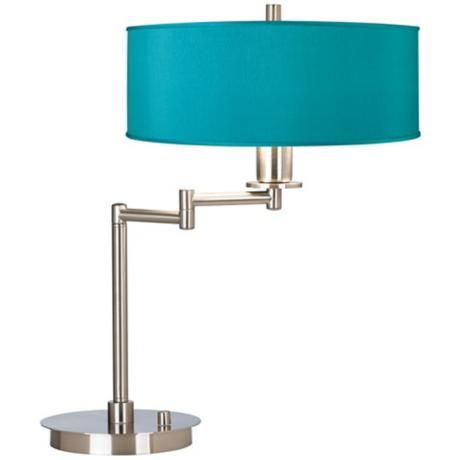Teal Blue Faux Silk CFL Swing Arm Desk Lamp - Get 20+ Teal Desk Lamps Ideas On Pinterest Without Signing Up