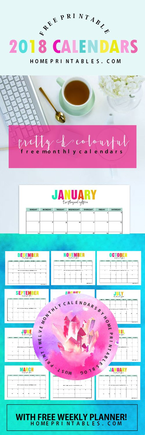 Cick on to get this free printable calendar 2018! The calendar planners come in fun and delightful colors!