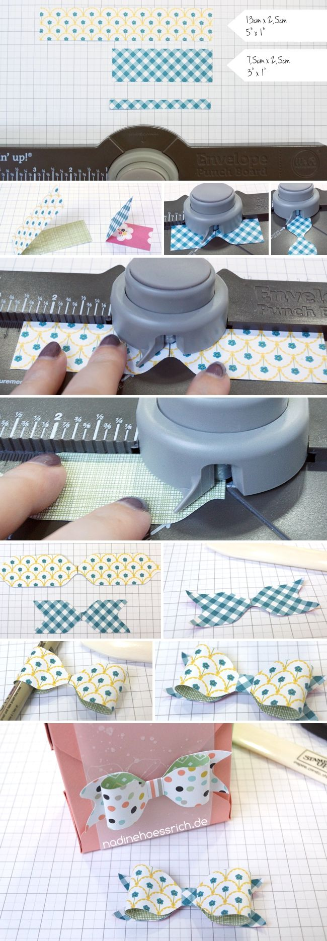 paper bow using envelope punch board - bjl
