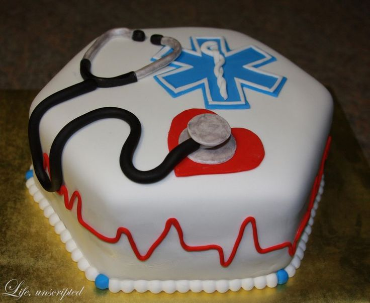 Cake made to celebrate a friend's passing of the EMT course.
