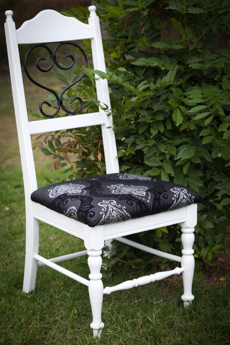 This chair has been re painted and given a wax finish. Re upholstered in black and sliver damask print. See Nine Stitches on Facebook for more pictures... https://www.facebook.com/pages/Nine-Stitches/1395225480724976