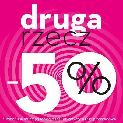 W sklepach stacjonarnych -50% na drugą rzecz!  W sklepie On-line www.eBUTIK.pl -dla zamówień powyżej 63zł* -10% rabatu! -dla zamówień powyżej 93,75zł* - 25% rabatu!  * Wartość produktów po rabacie. Promocja nie dotyczy produktów przecenionych.