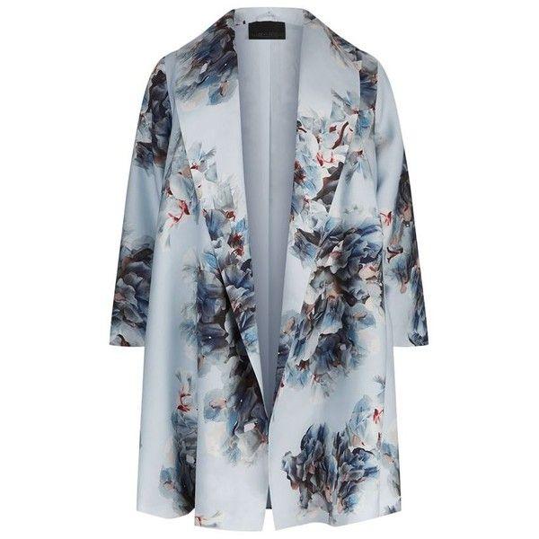 Marina Rinaldi Shawl Collar Floral Print Coat (69.225 RUB) ❤ liked on Polyvore featuring outerwear, coats, lightweight coat, marina rinaldi coats, marina rinaldi, summer coats and blue coat