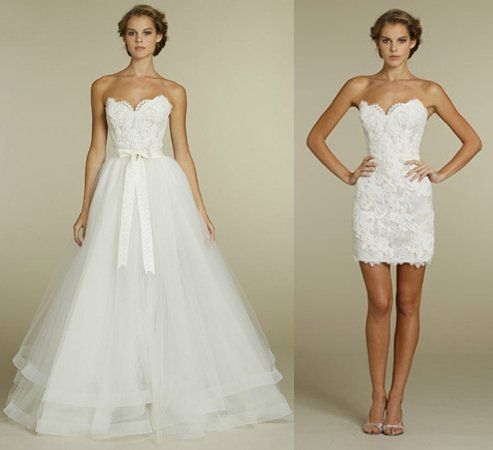 love this idea, Tara Keely dress. take off skirt for reception dress.