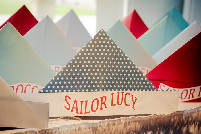 paper hats for guests: Parties Hats, Birthday Parties, 1St Birthday, Sailors Hats, Sailors Parties, Nautical Birthday, Paper Sailboats, Paper Hats, Nautical Parties