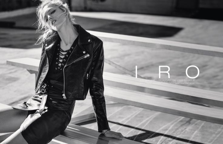 Anja Rubik wears a leather jacket to the little black dress to ripped denim stars in Iro spring summer 2016 campaign