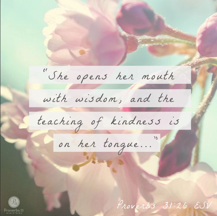 """""""She opens her mouth with wisdom, and the teaching of kindness is on her tongue..."""" Proverbs 31:26 (ESV)"""