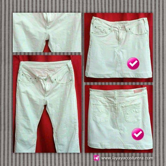 Transformación de unos pantalones a una falda. ¿Quieres hacer lo mismo? Pues, acércate a una de Las tiendas de La yaya costurera // Transformació d'uns pantalons en una faldilla. En vols una igual? Doncs, apropa't a una de les botigues de La yaya costurera.