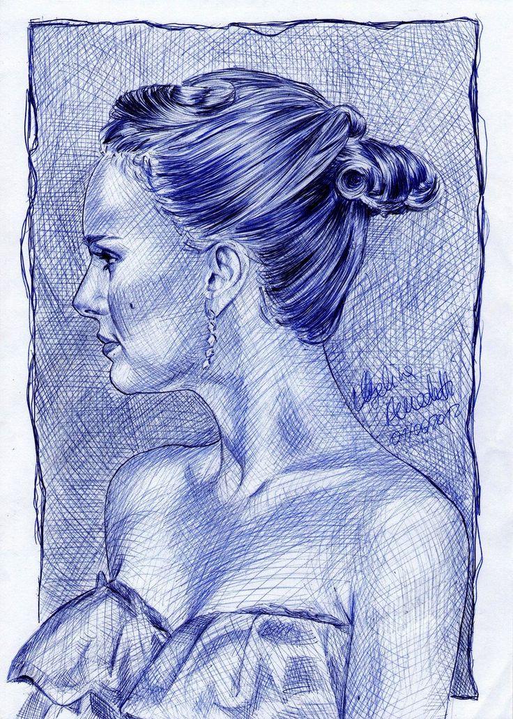 Natalie Portman drawing ballpoint pen by AngelinaBenedetti.deviantart.com on @DeviantArt