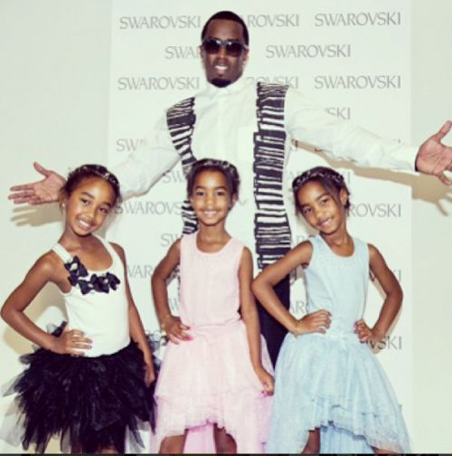 Proud papa P. Diddy posed with his daughters Jessie and  D'Lila, 6, and Chance, 7, whom made their modeling debut at Kids Fashion Week in Ne...
