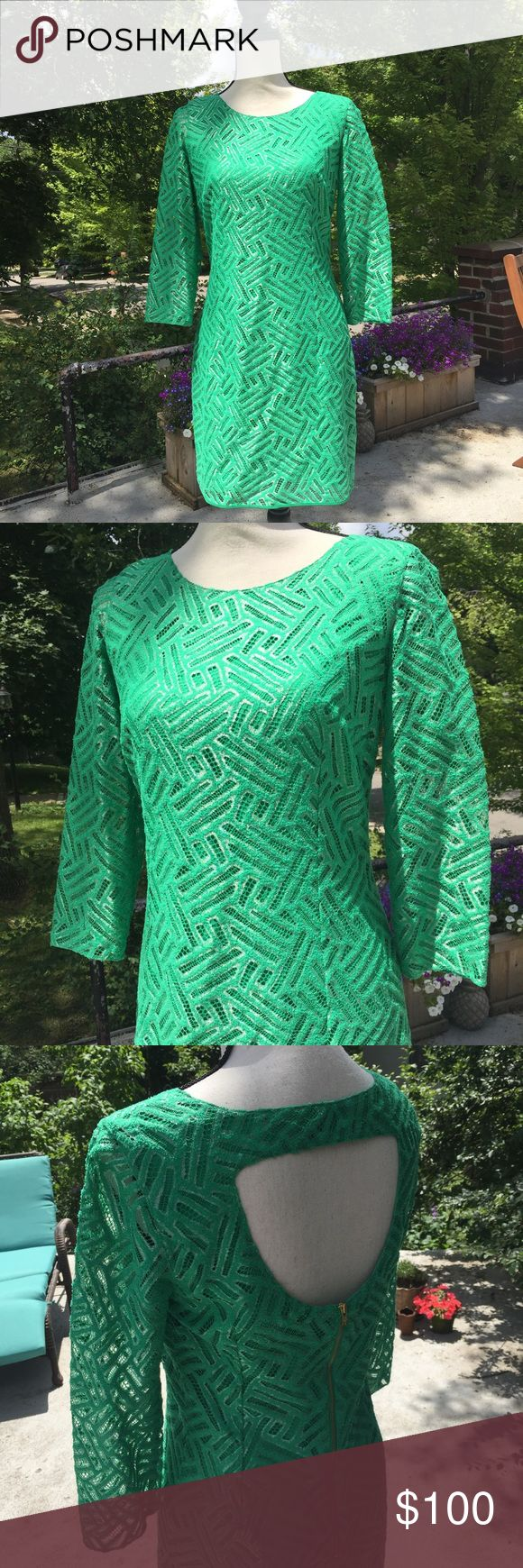 Lilly Pulitzer sexy green dress Worn once / like new. Lots of great details including stunning color, sheer sleeves, & back detail. Size 6. Only selling because doesn't fit. Great deal. Lilly Pulitzer Dresses