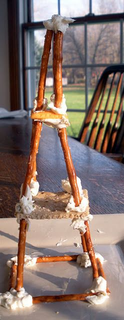 Edible crafts! Pretzel Eiffel tower!