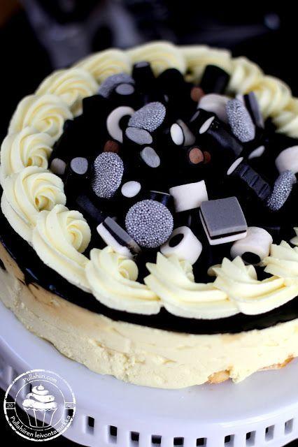 Lakritsi-sitruunahyydykekakku herkullisella karkkikoristelulla | Pullahiiren leivontanurkka | Bloglovin'