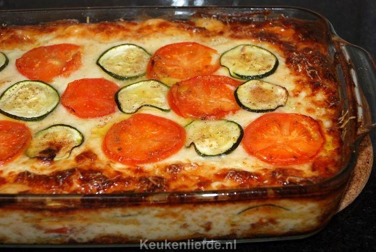 Aardappellasagne met tomaat en courgette