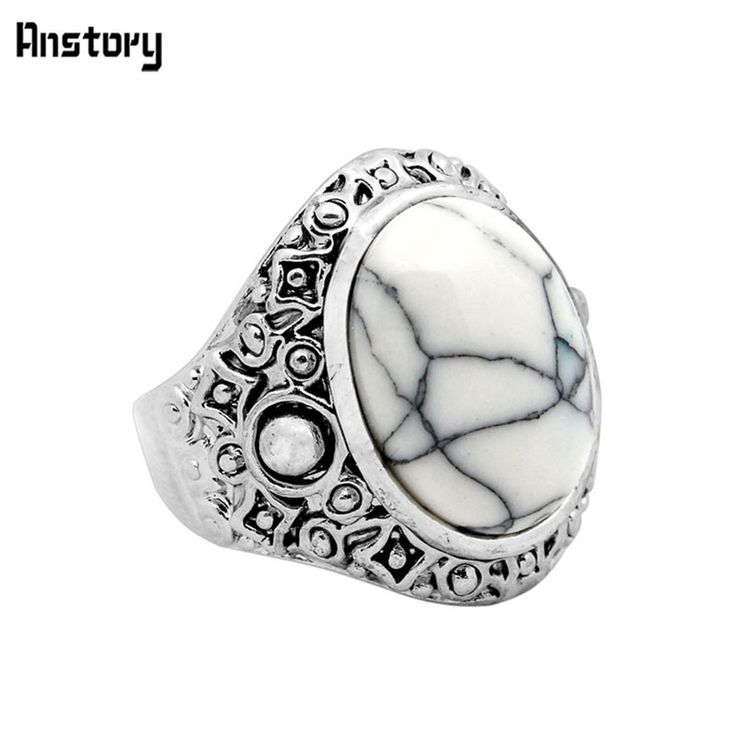 Oval White Turquoise Ring Retro Tibetan Alloy Antique Silver Plated Cute Victoria Fashion Jewelry TR444