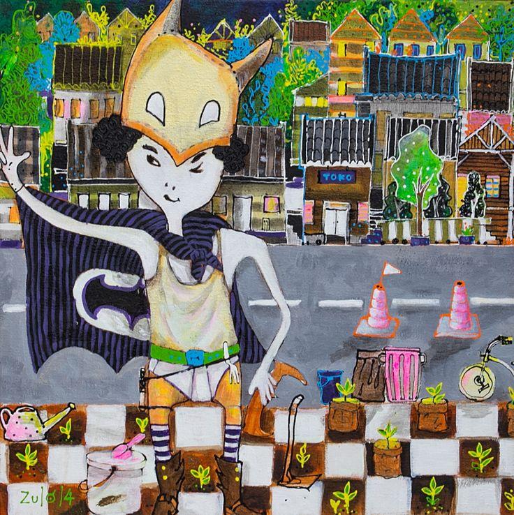 Salam dua jari untuk pelestarian lingkungan Acrilic on canvas 60 x 60 x 5 cm tahun 2014