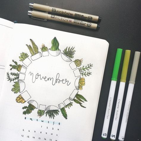 "51 Likes, 1 Comments - Chelsea ✨ (@buujoos) on Instagram: ""Ayylmao first post. A plant-themed November cover page!! • • • • • • #bulletjournal #lettering…"""
