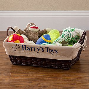 2. Pet Toy Basket with Personalized Tan Liner L - Need I say more? This is adorable, and we can have his name on it! k- our dog is going to be spoiled.