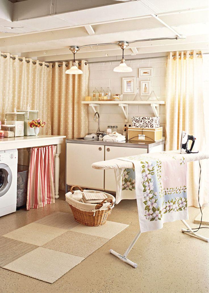 Curtain wallsBasement Laundry, Unfinished Basements, Basements Wall, Laundry Area, Laundry Rooms, Basements Laundry, Basements Ideas, Laundry Room Makeovers, Laundryroom