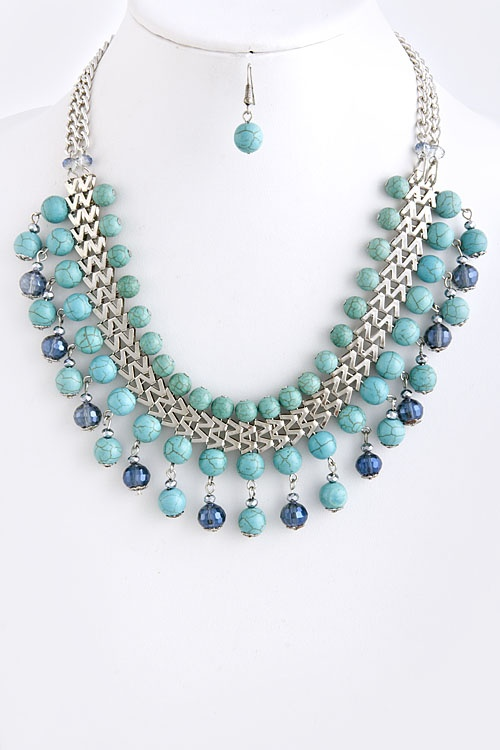 STONE BEAD CHAIN NECKLACE silver-turquoise