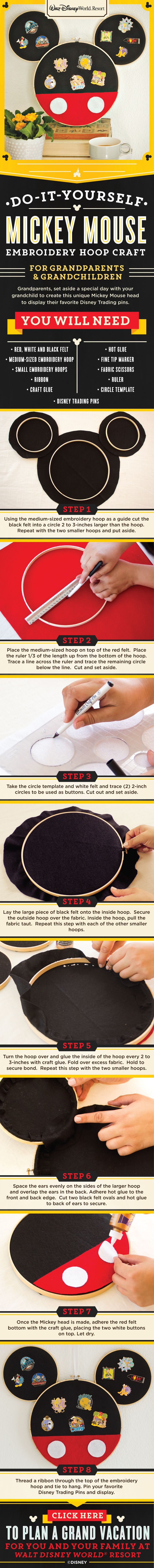 Learn how to make a Mickey Mouse embroidery hoop craft to display your Disney Parks pins! Perfect for Grandparents and Grandchildren to work on together!