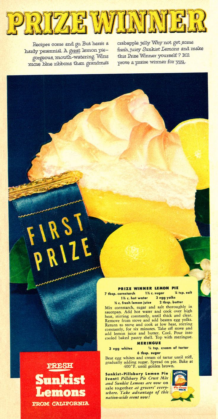 "Sunkist Prize Winner Lemon Pie from ""Family Circle"" 