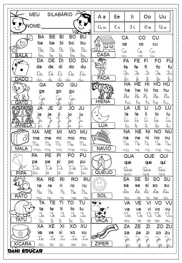 Tabela De Silabario Ilustrado Com 4 Formas De Letras Atividades