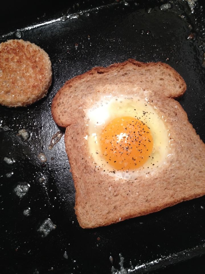egg in the hole - not that you need a recipe for this... just pinning ...