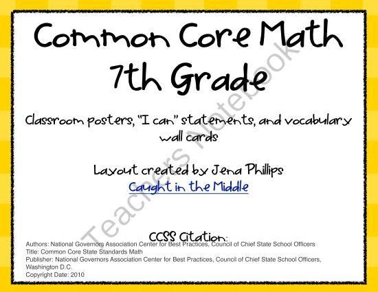 Common Core Math Activities For Seventh Grade 7th Grade