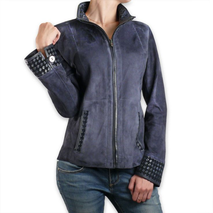 Ladies Blue Suede Leather Reversible Jacket | Pierotucci Florence Italy